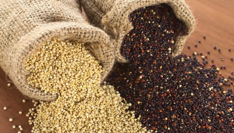 Red and White Quinoa grains
