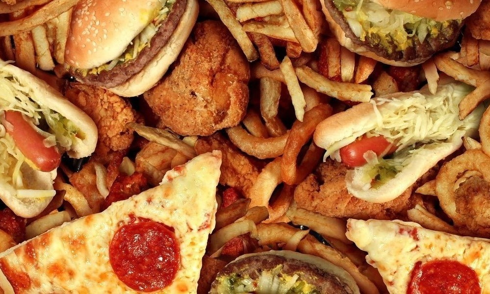 Processed food, pizza, fries, burgers
