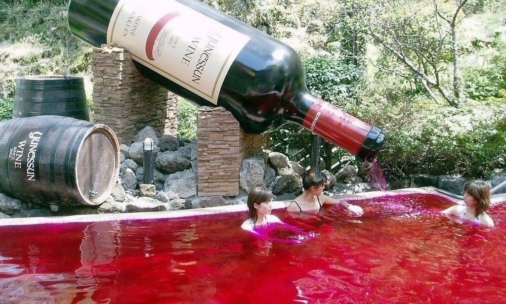 Red wine pool, Japan
